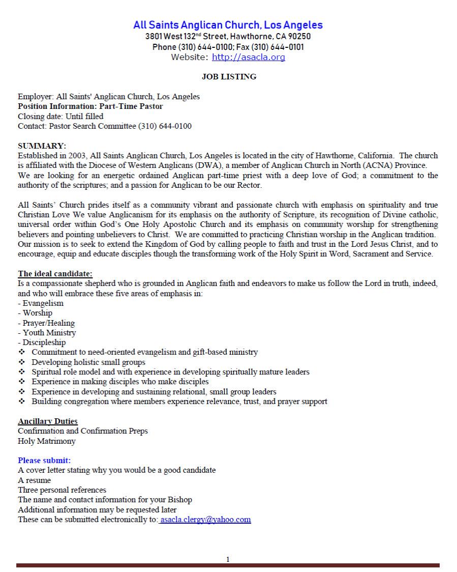 Pastor's Employment Application